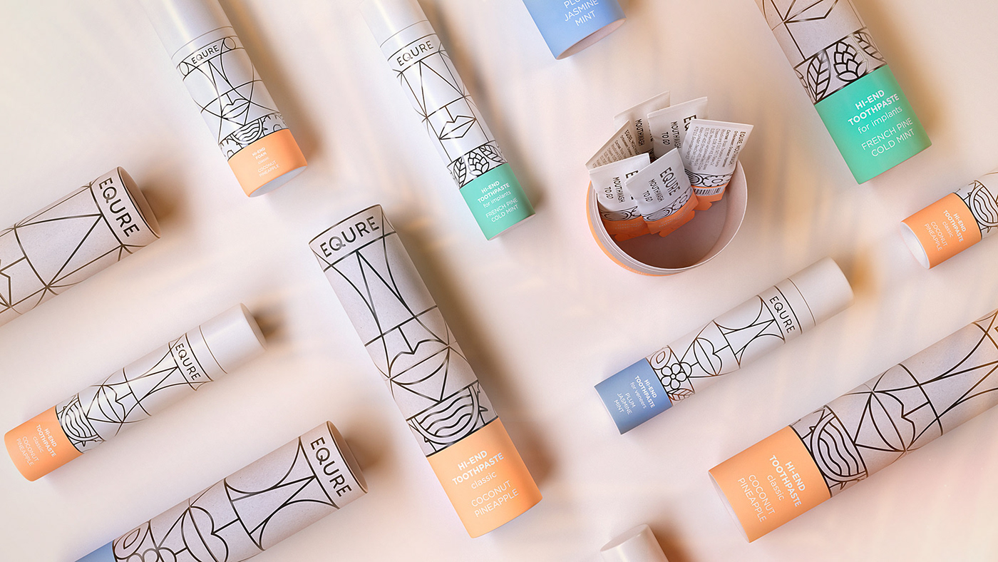 cosmetics oral care theeth Packaging art deco art pattern cult Totem toothpaste