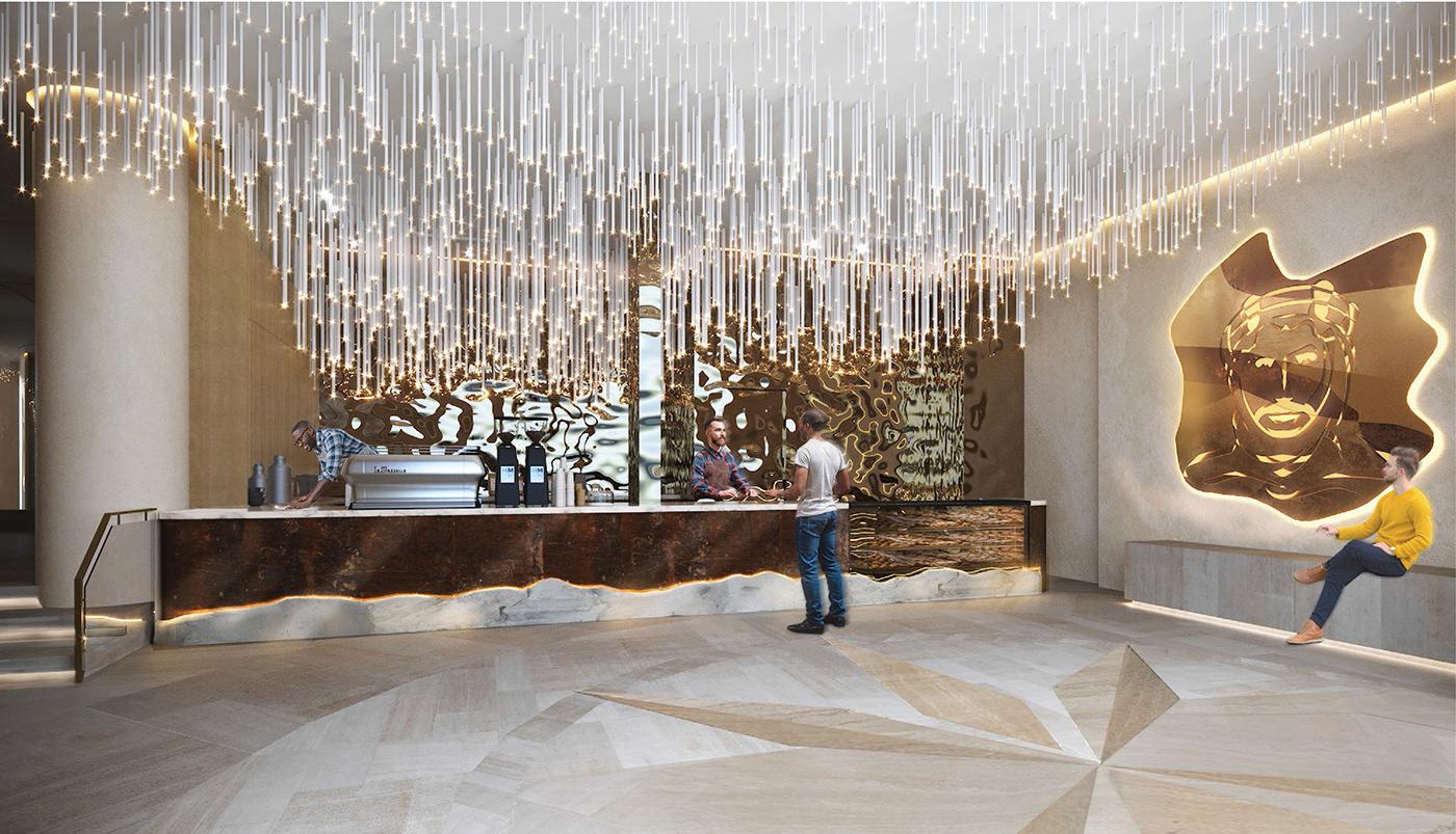 architecture cafe commercial design facade furniture industrial Interior lighting Render