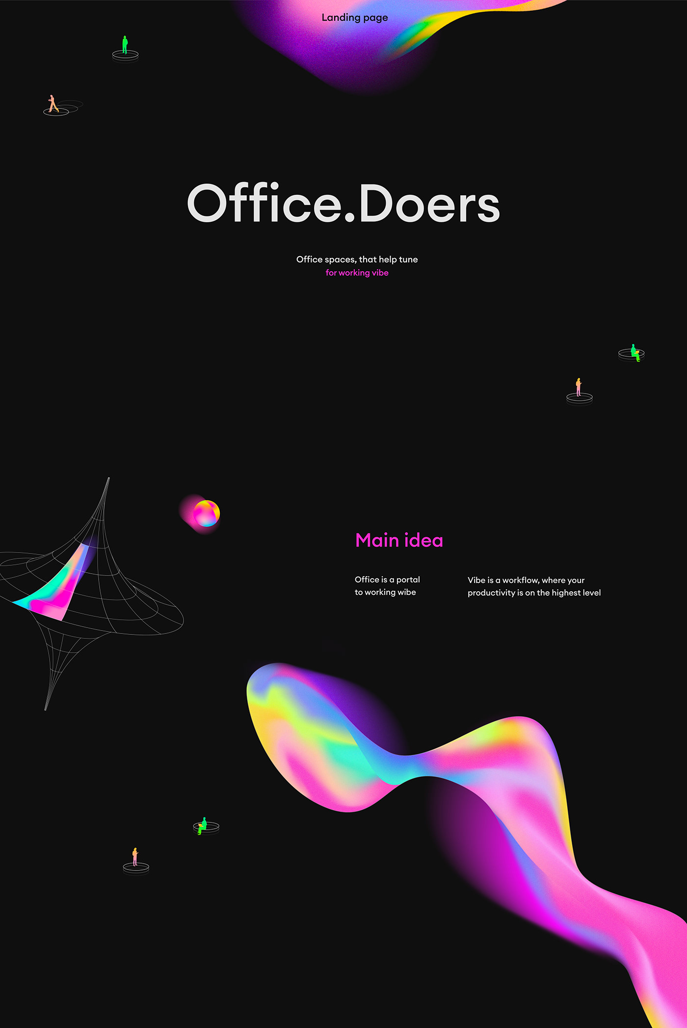 abstract design Isometric IT landing page line real estate services UI/UX Webflow