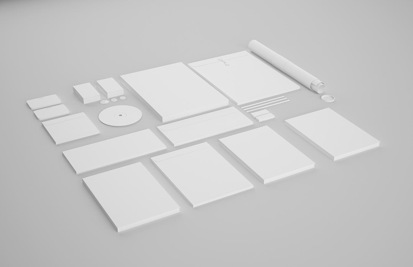 template free Stationery download corporate showcase identity logo print black minimalistic psd professional Mockup White
