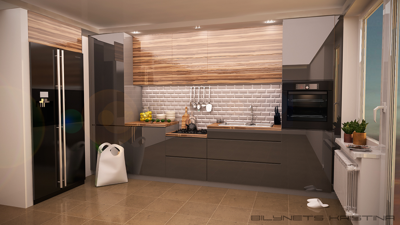 Kitchen design in a modern style with acrylic mdf on behance - What is contemporary style ...
