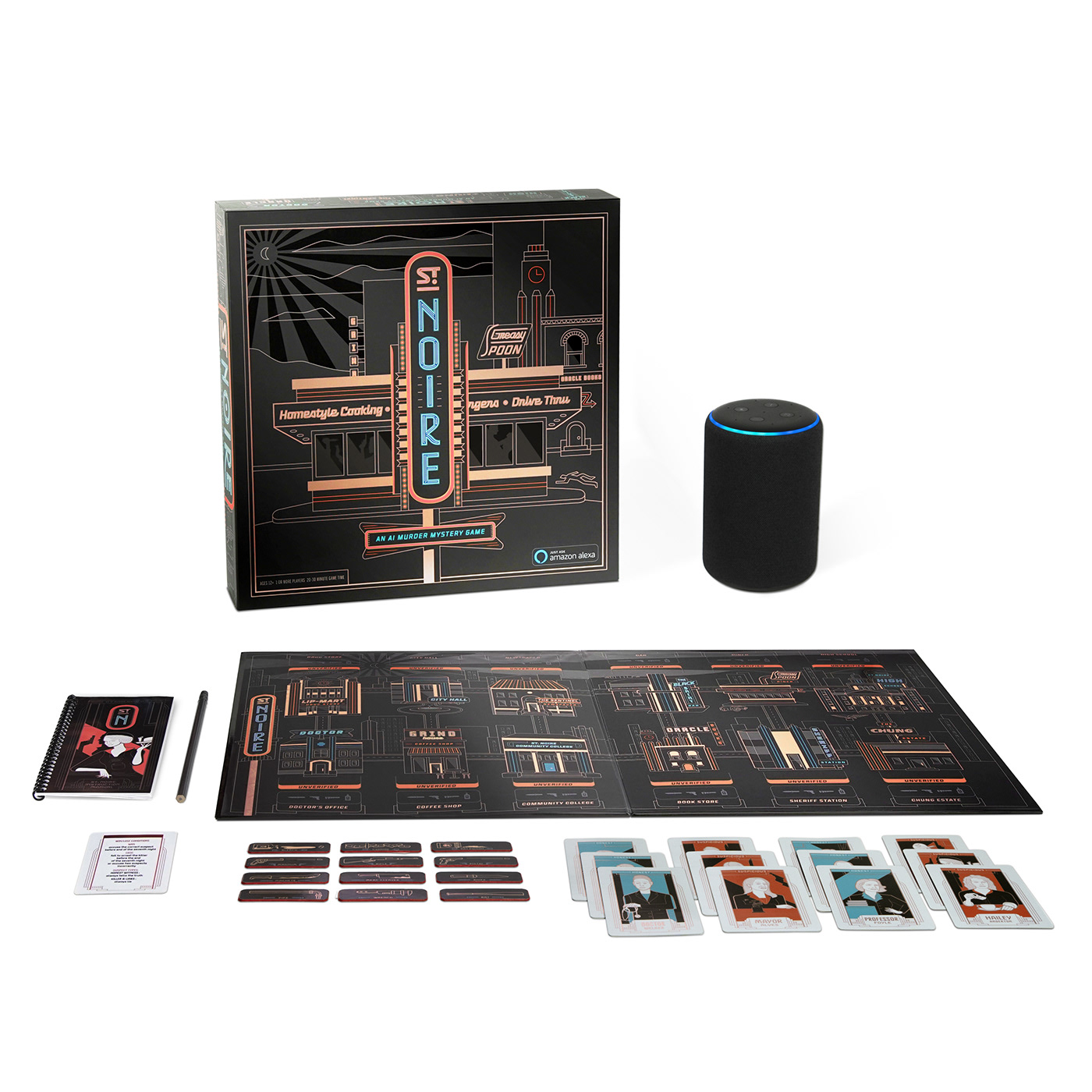 Kevin Cantrell amazon alexa x2 board game Interactive game St. Noire murder mystery packaging design Brand Design Satellite Office