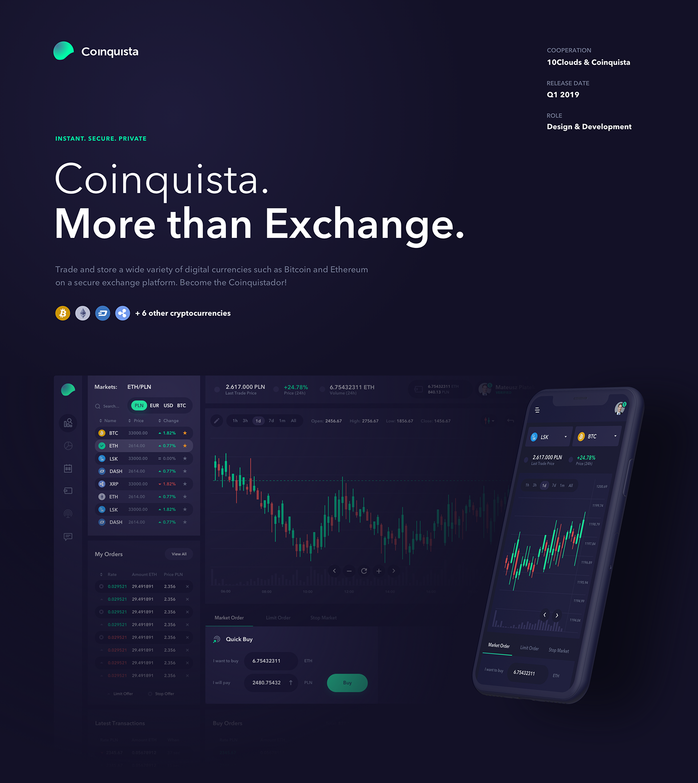 exchange cryptocurrencies crypto UI ux product design 10Clouds coinquista motion design