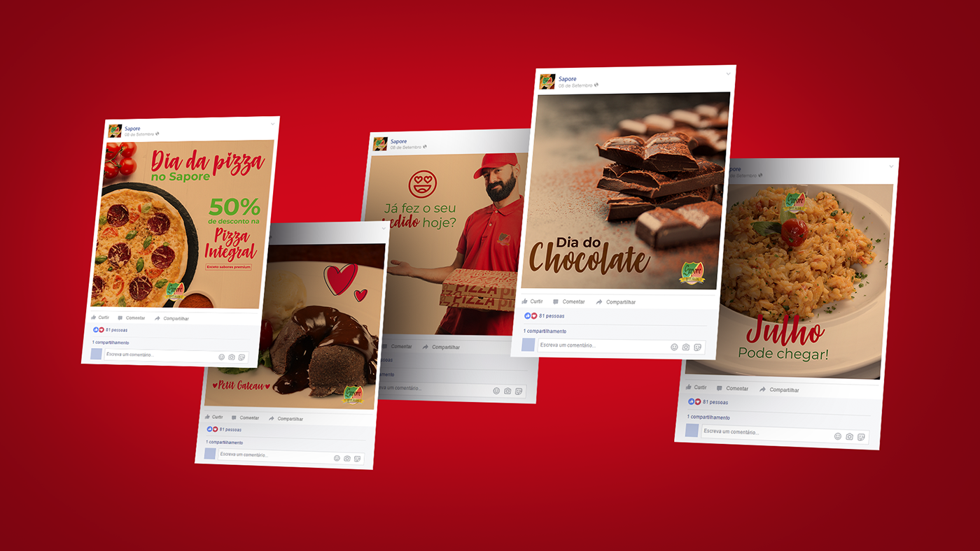 social media instagram facebook calçados restaurante italiano