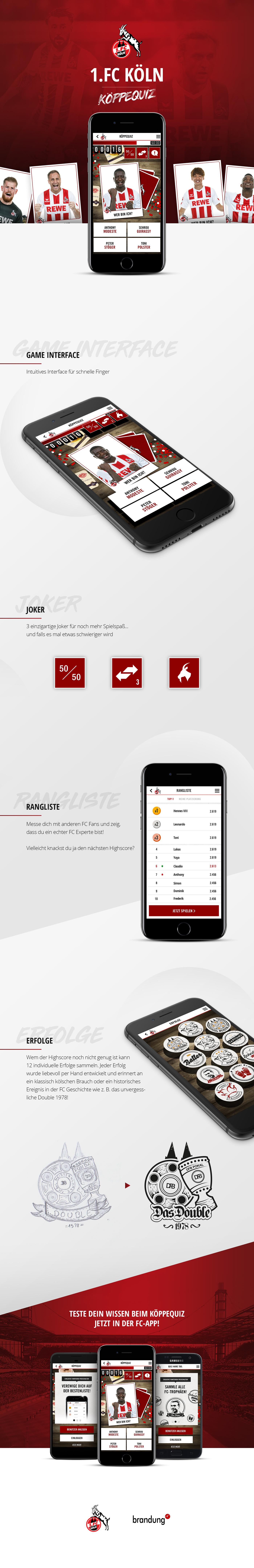 köln FC cologne mobile app design game Quiz Fussball soccer