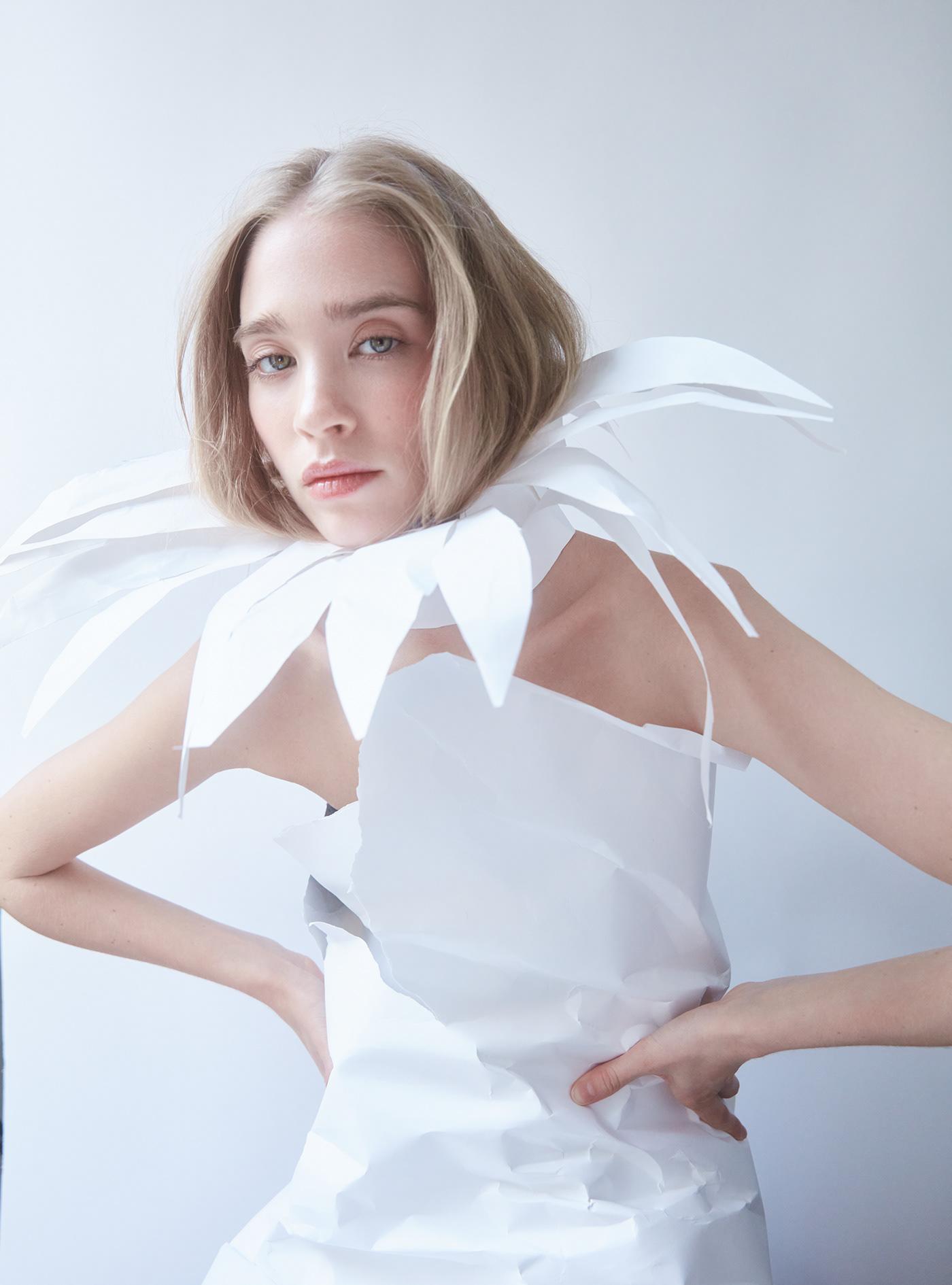 blond daisy Fashion  flower model paper Paris White