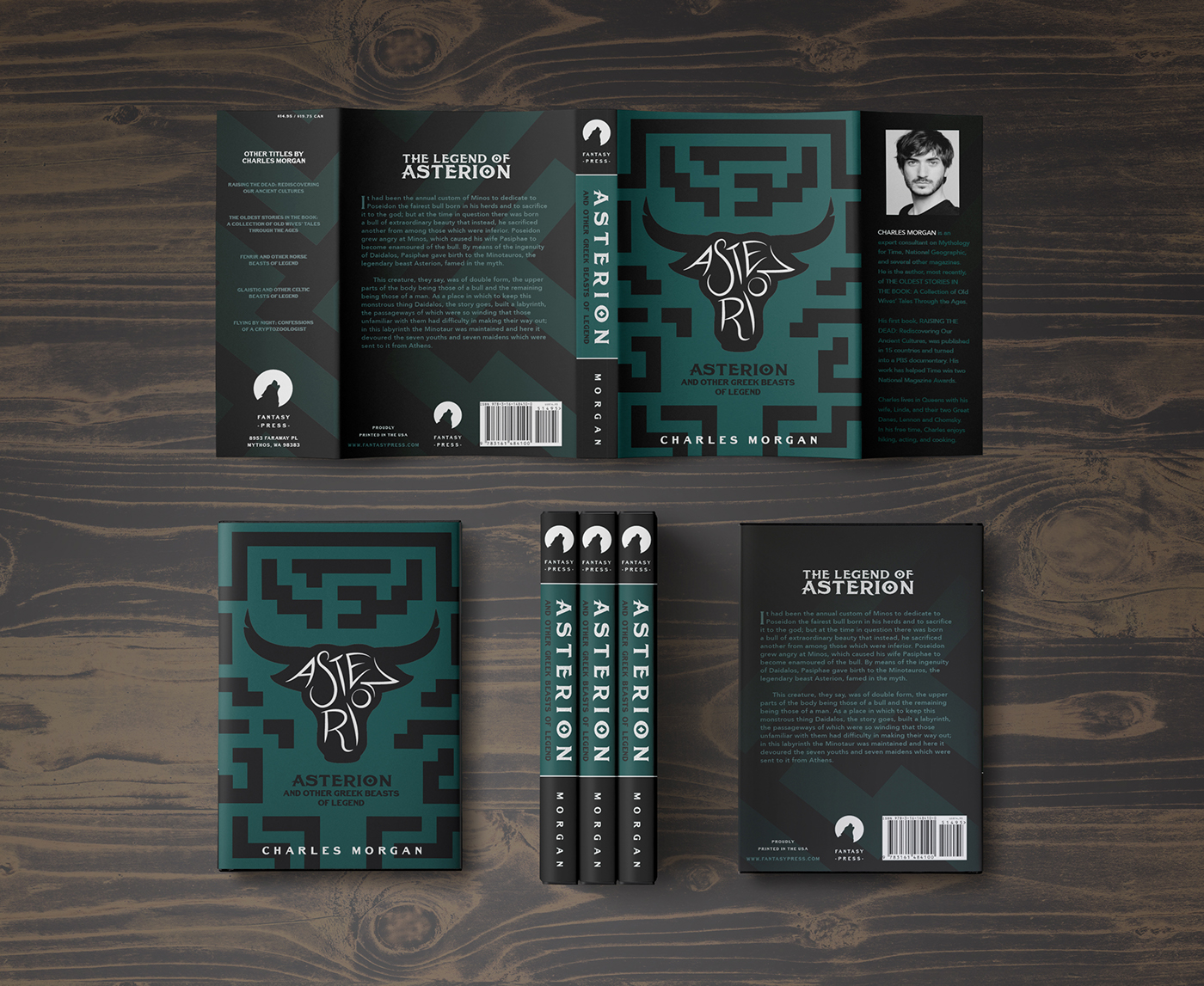 book cover design Layout beasts mythology graphic bold color typography