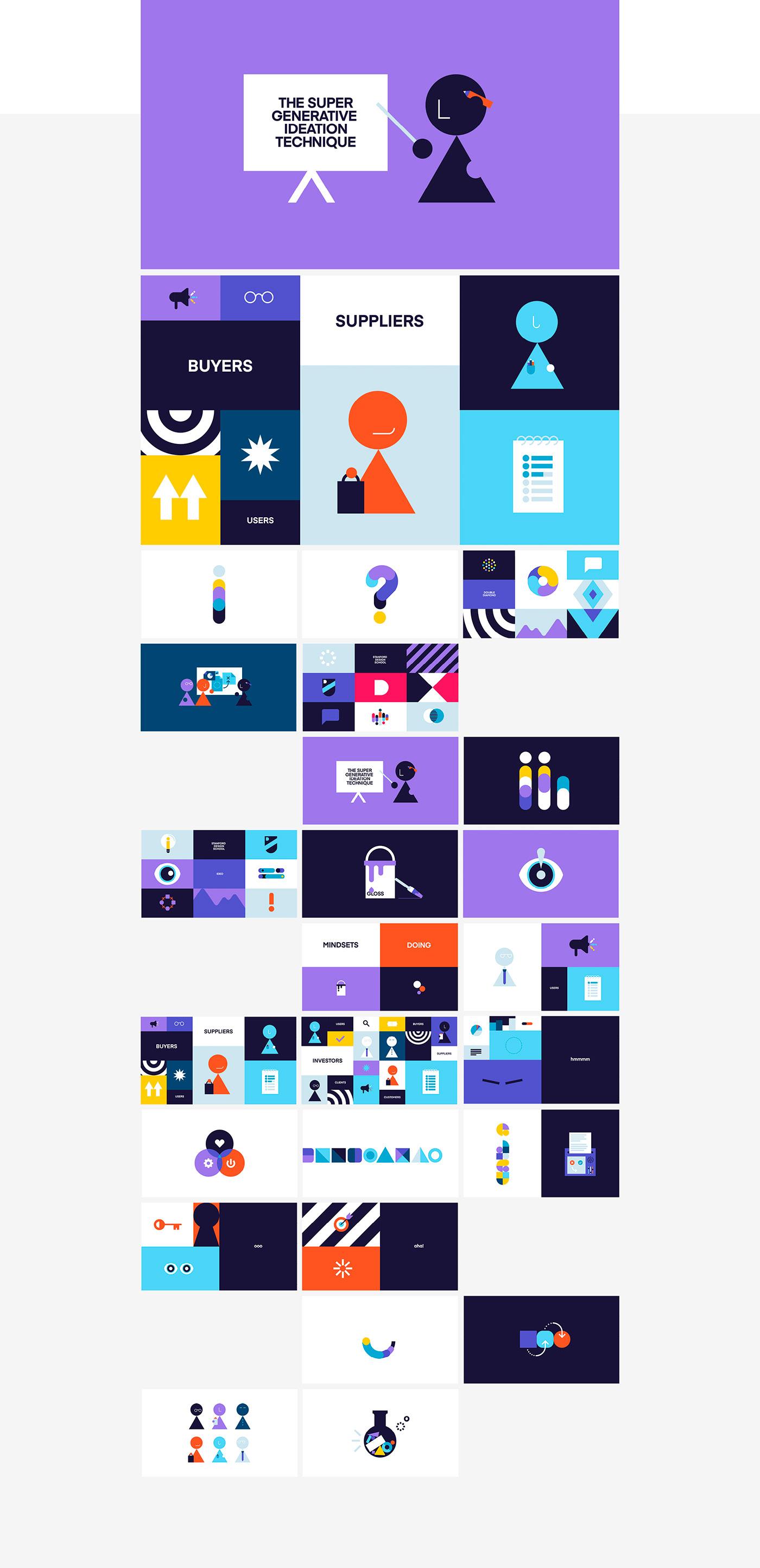 geometric ILLUSTRATION  animation  vector design thinking explainer design graphic colour