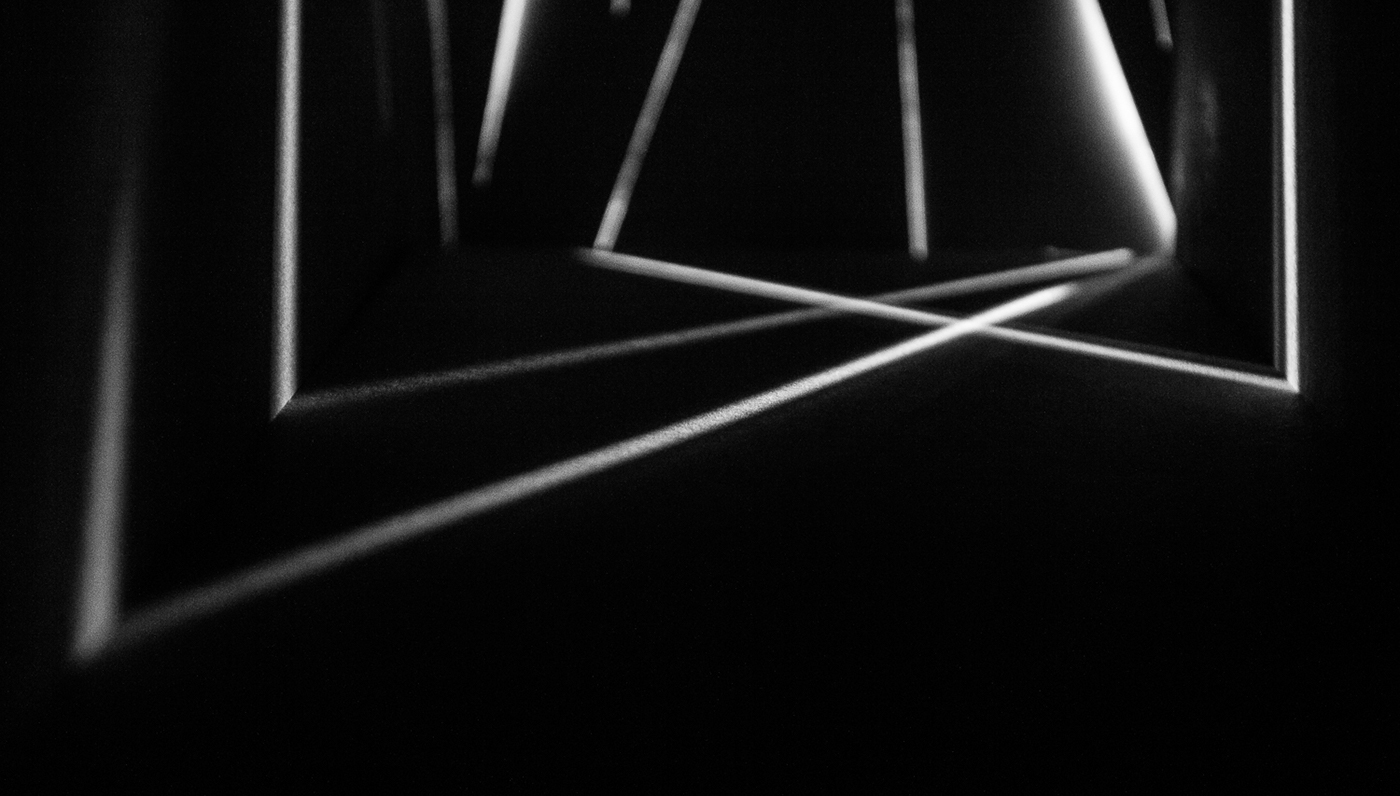 Space  light experiment black and white geometric abstract artoflight surface texture reflection diffusion shadow lines rays publishing design