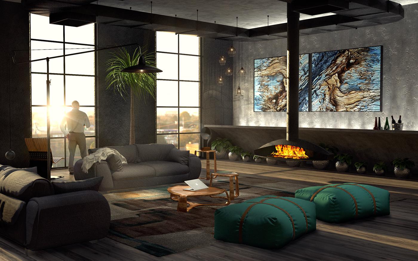 LOFT apartment black modern Open Space Render Pray cinema4d men cave art gramovox gramophone fire