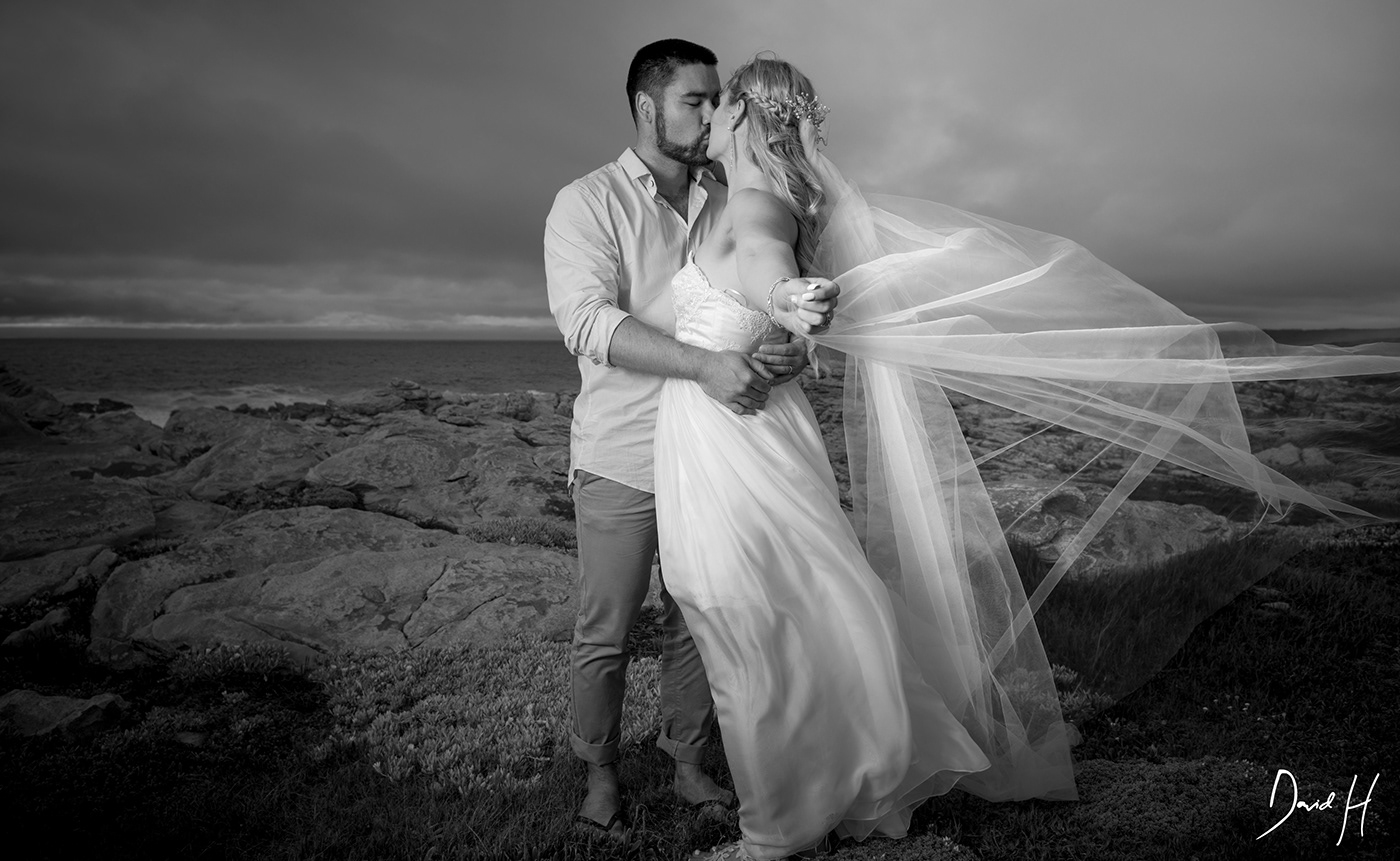 Image may contain: wedding dress, bride and kiss
