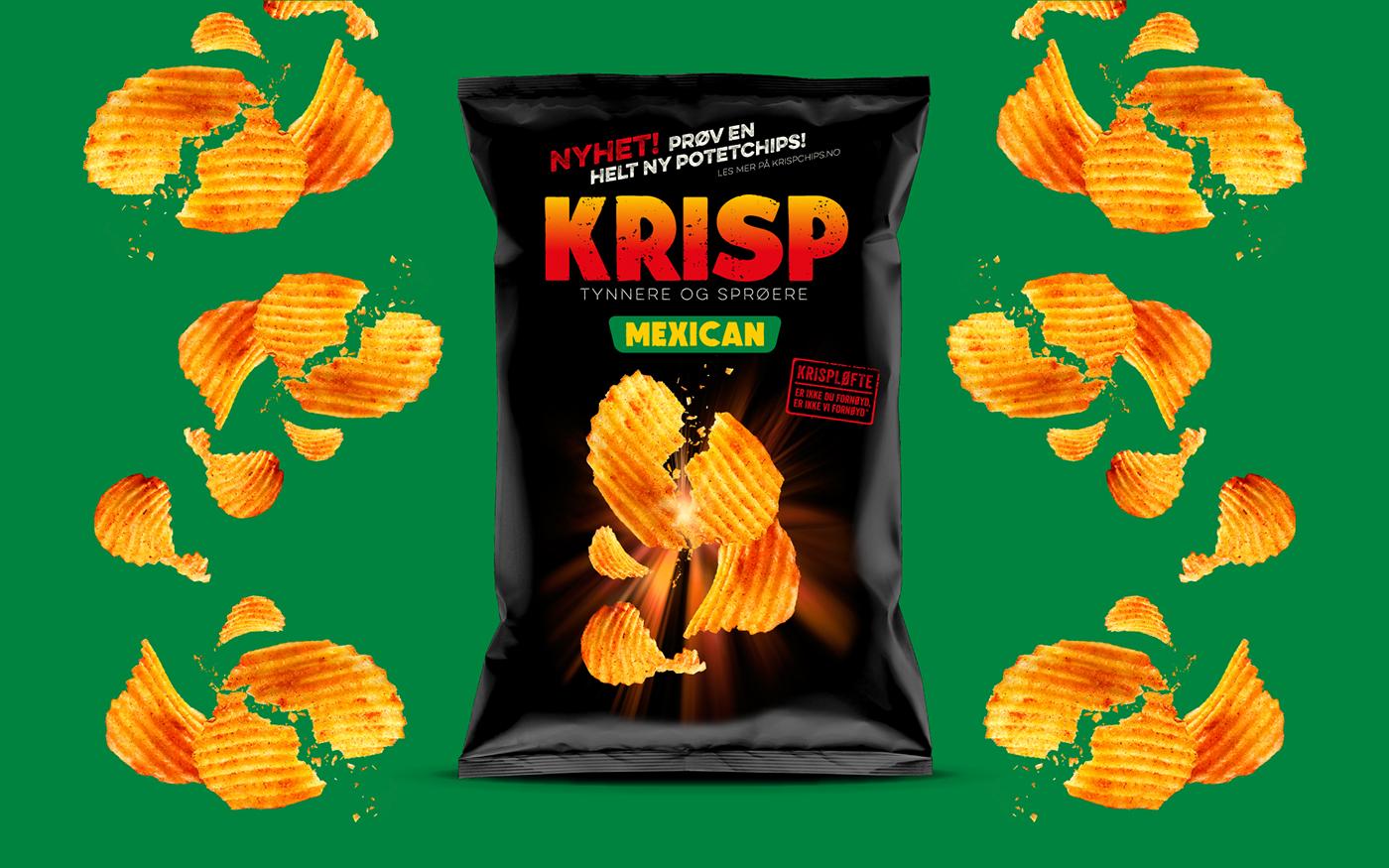 norway sørlandschips Krisp flat chips chips fjeldheimpartners concept logo identity