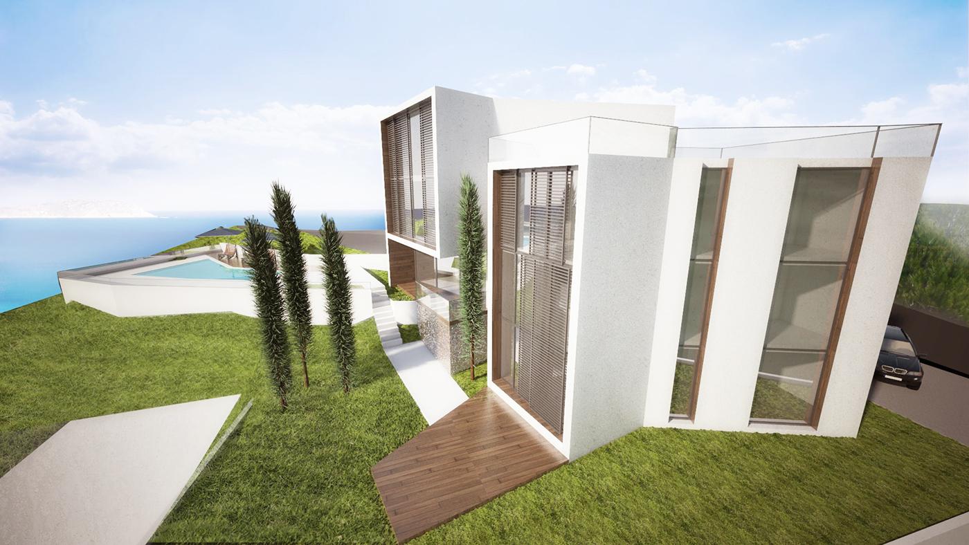 sea house Villa architecture contemporary cliff Beach house Sea house visualisation