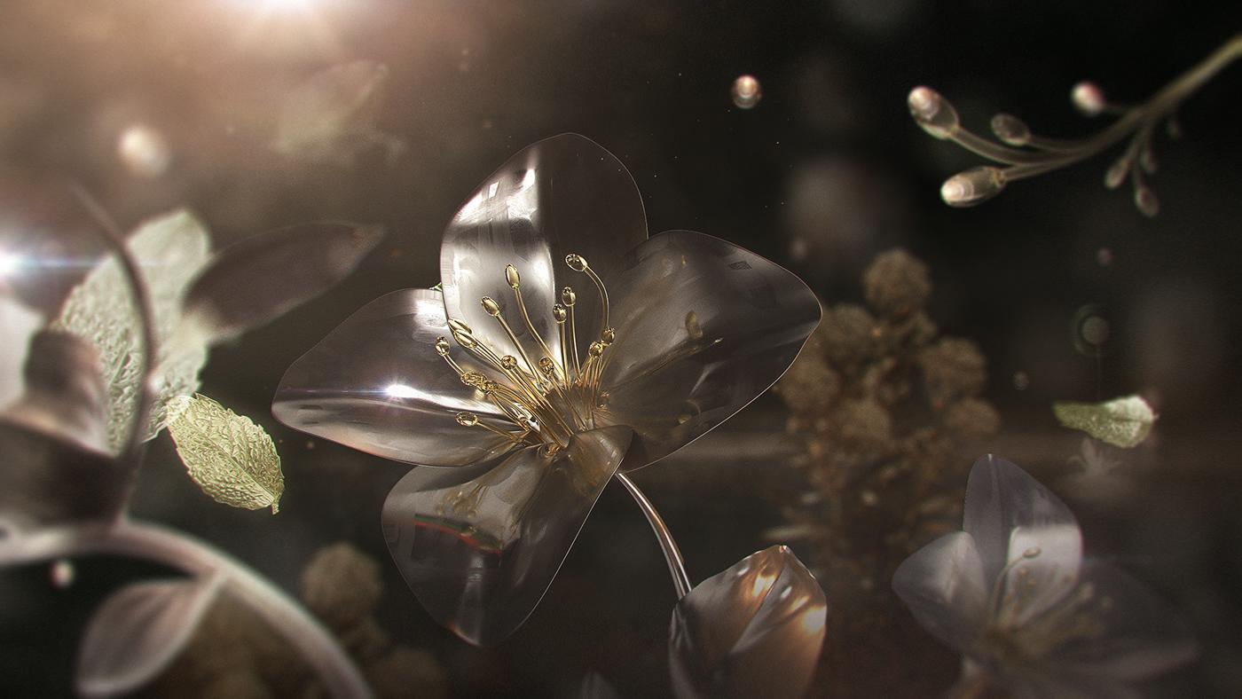 garden print Keyvisual Advertising  Fragrance elements composition cinema4d