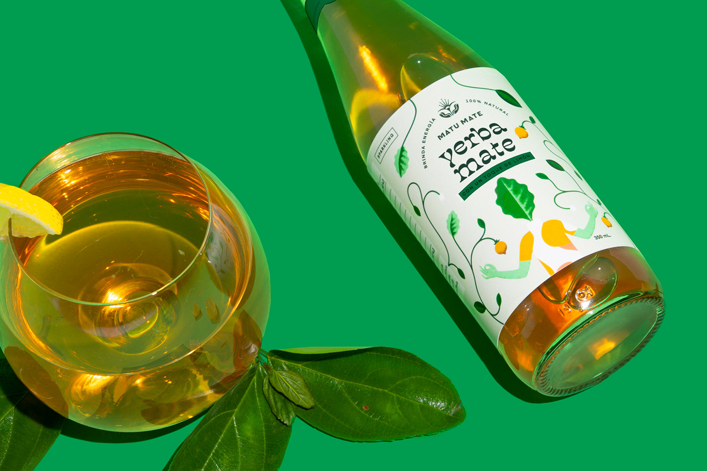 beverage,branding ,Character design ,energy drink,glass bottle,ILLUSTRATION ,logo,natural,Packaging,yerba mate