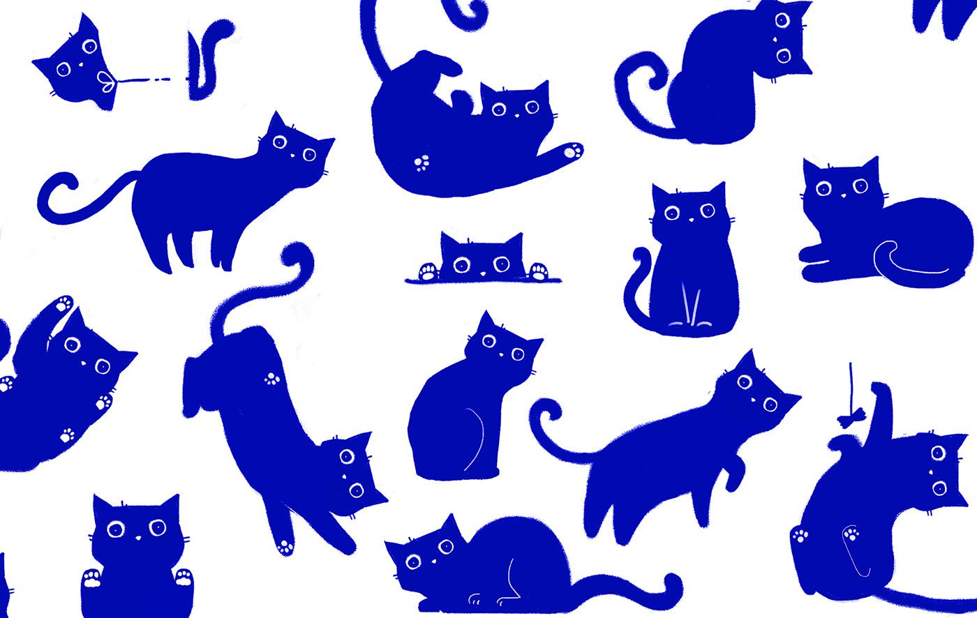 design ILLUSTRATION  Packaging blue Cat cats cute trend packagingdesign