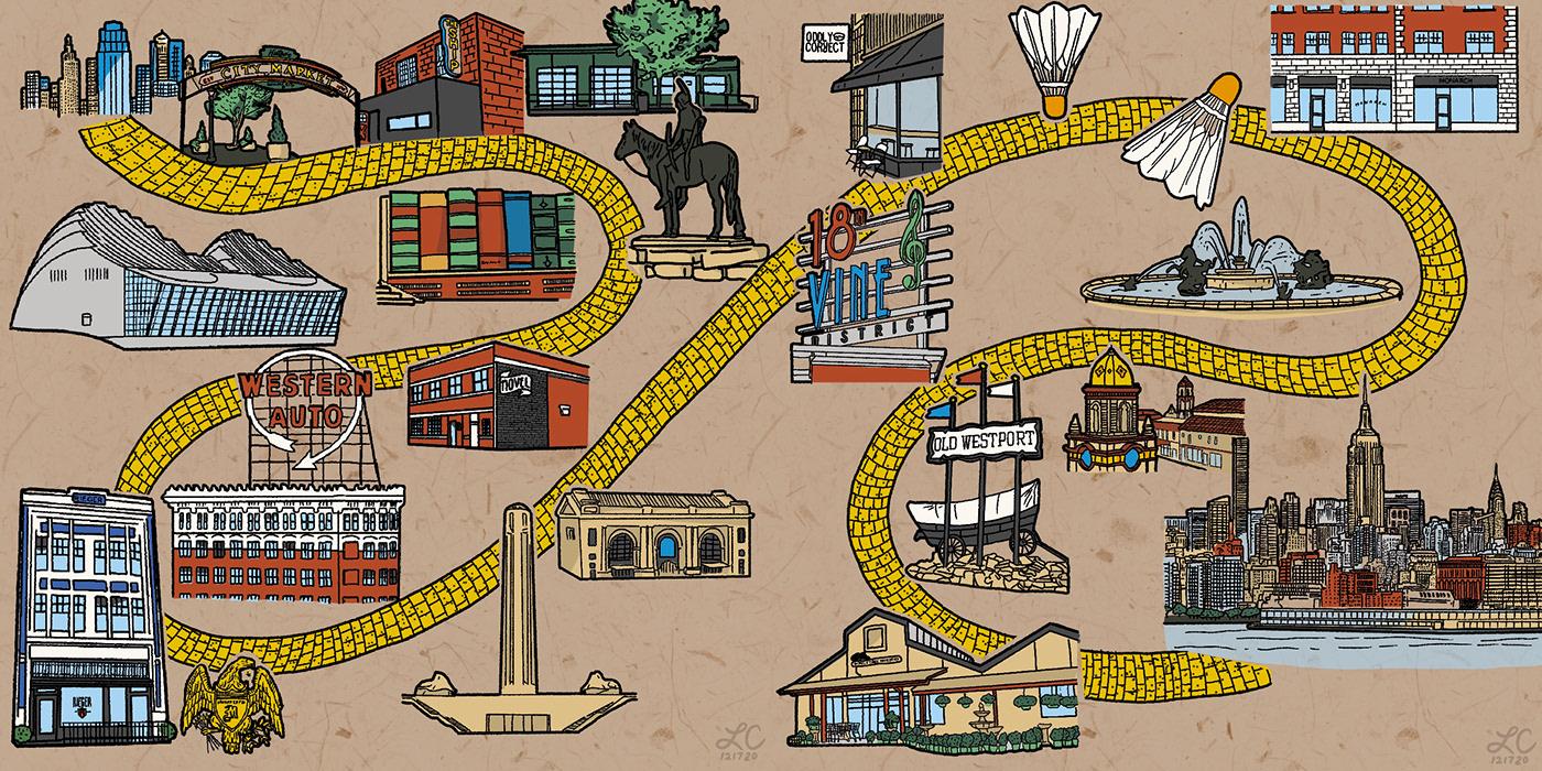 kansas city linework new york city skyline yellow brick road