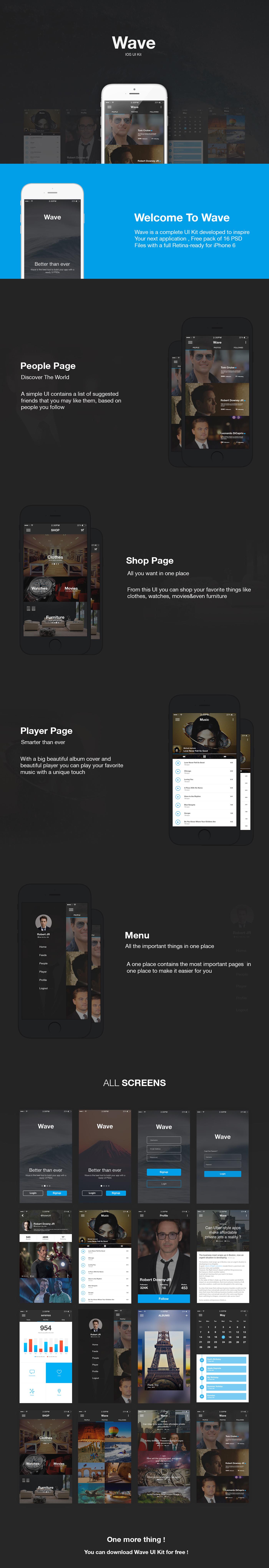 wave UI ux Web free psd menu kit download profile people ios mobile vector