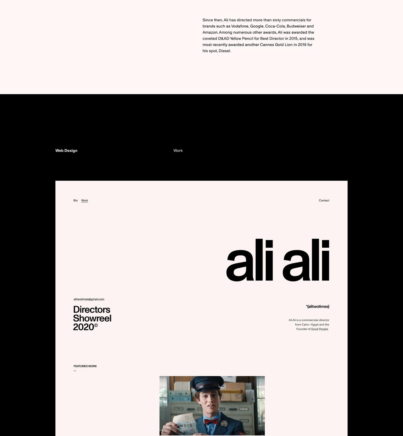 Film director minimal portfolio website