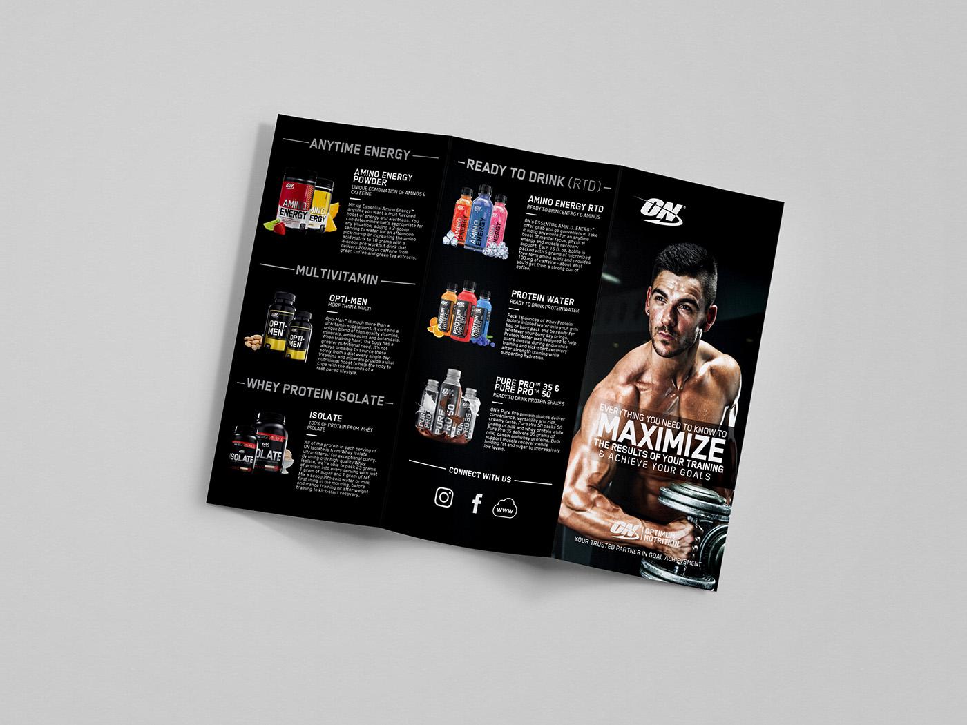 optimum nutrition tri fold brochure on behance