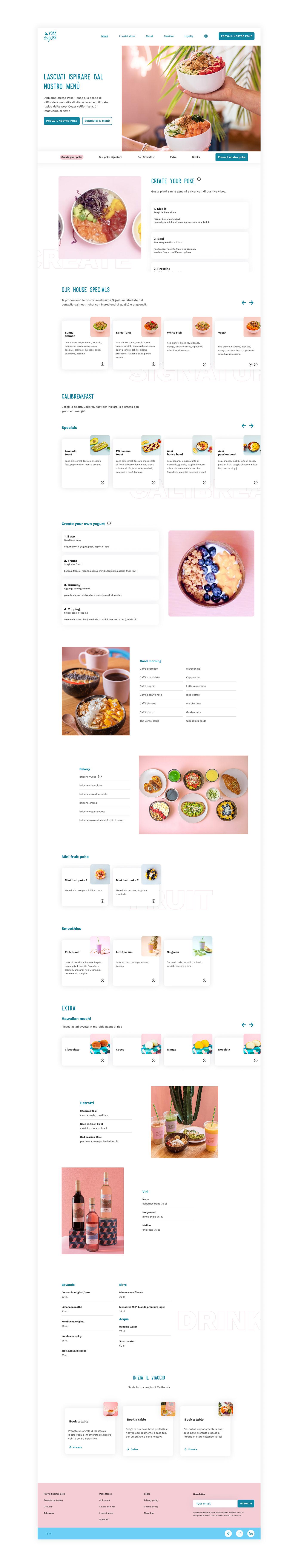 Menu page on desktop viewport