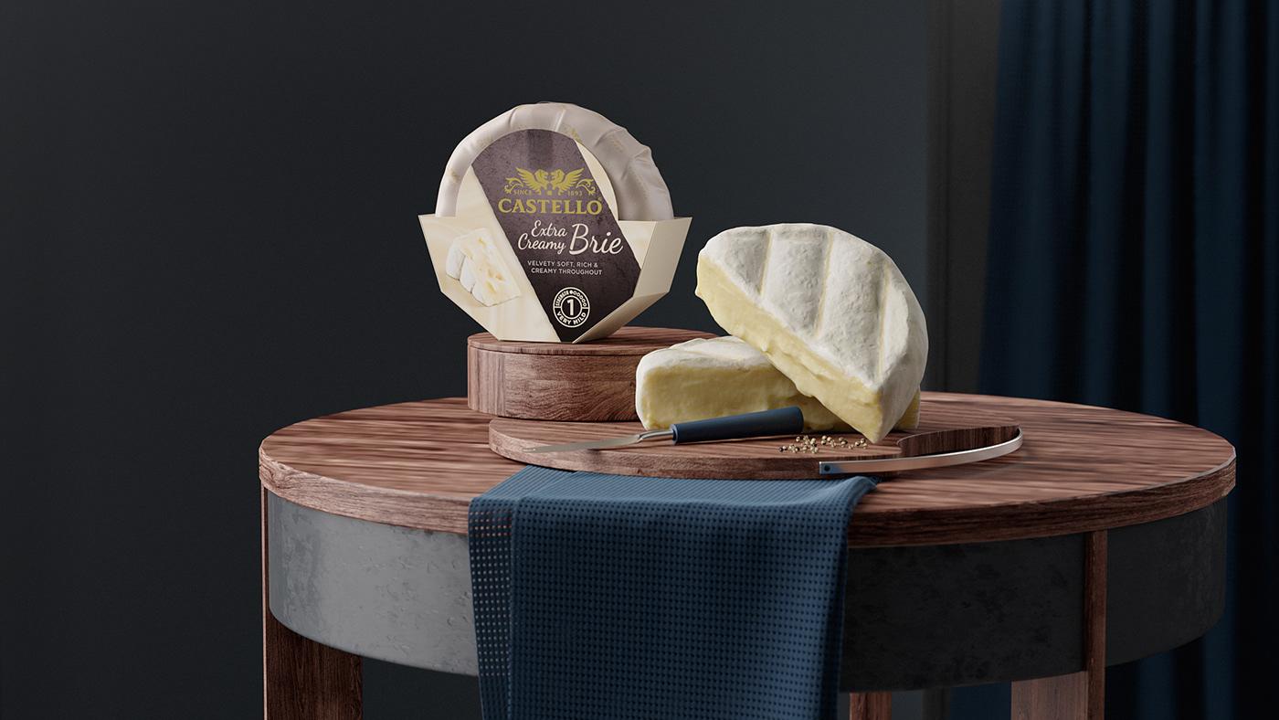 Cheese castello redshift 3d scan melting crumble set design  lifestyle SSS mvsm