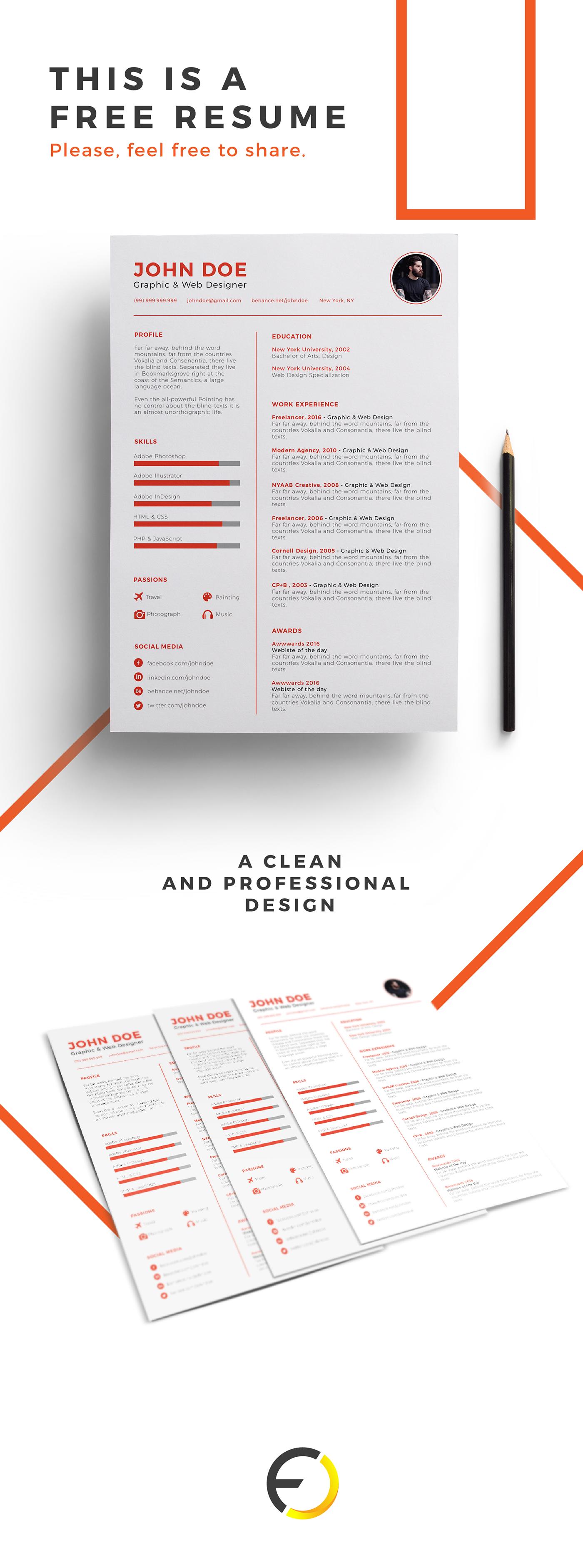 極美的23套履歷表設計欣賞