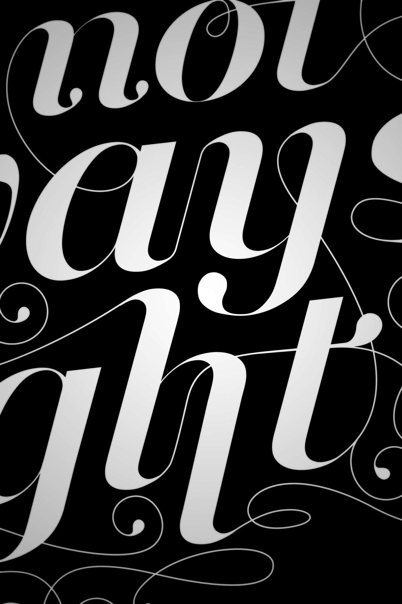 Typographie Script font fonte poster Montreal alphabet letters numbers chiffres lettres black White noir blanc