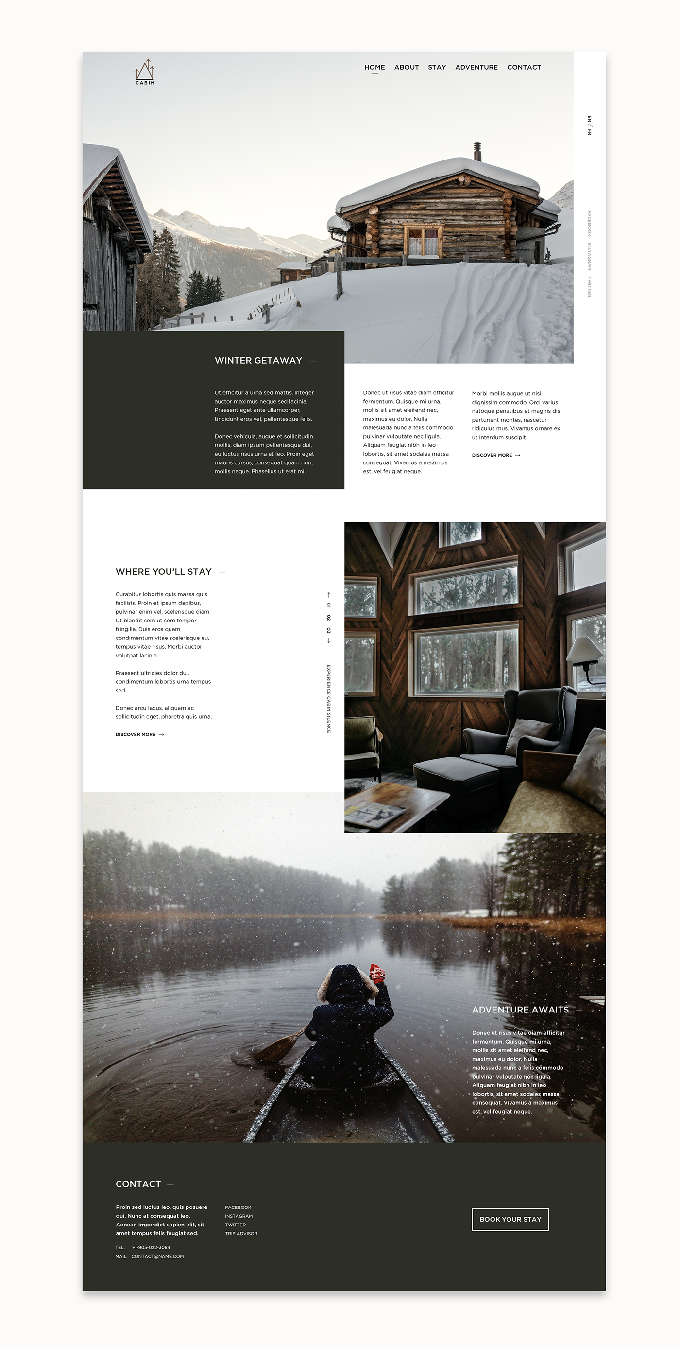 Website Web Design  typography   landing simple minimal Travel cabin winter