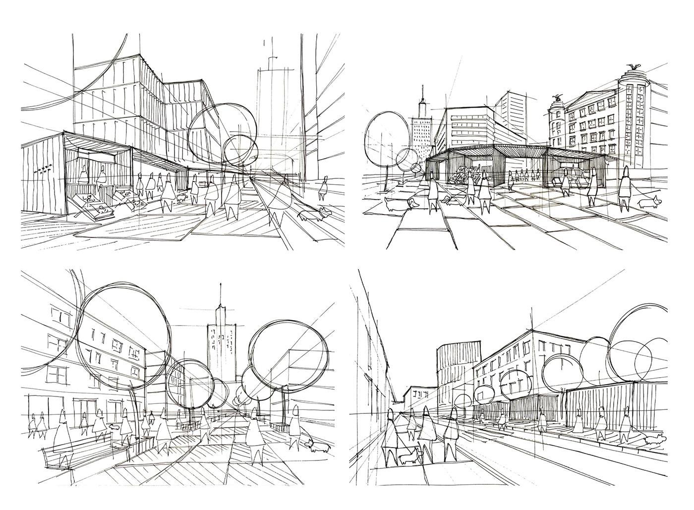 action urbanism street design street market Urban Design warsaw planning złota street
