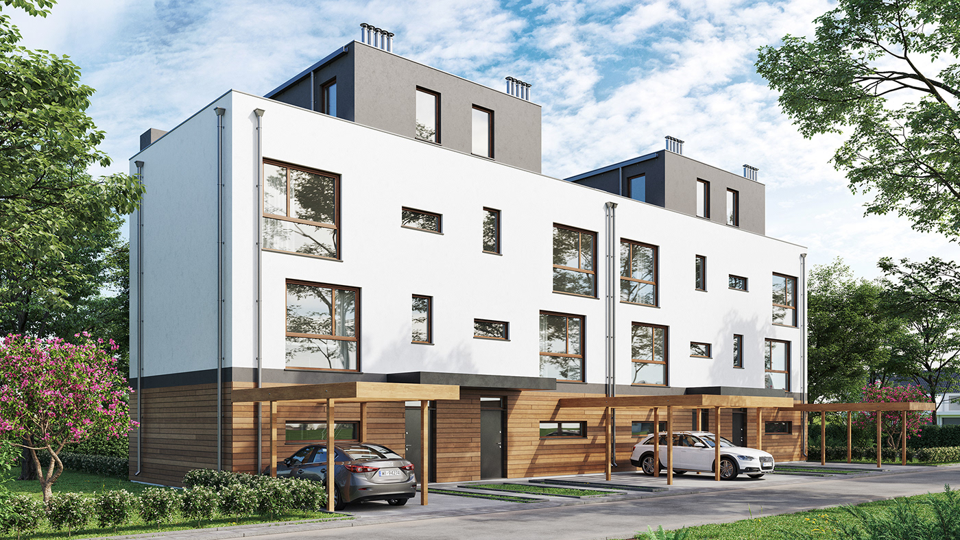 exterior apartments building corona 3dsmax Render