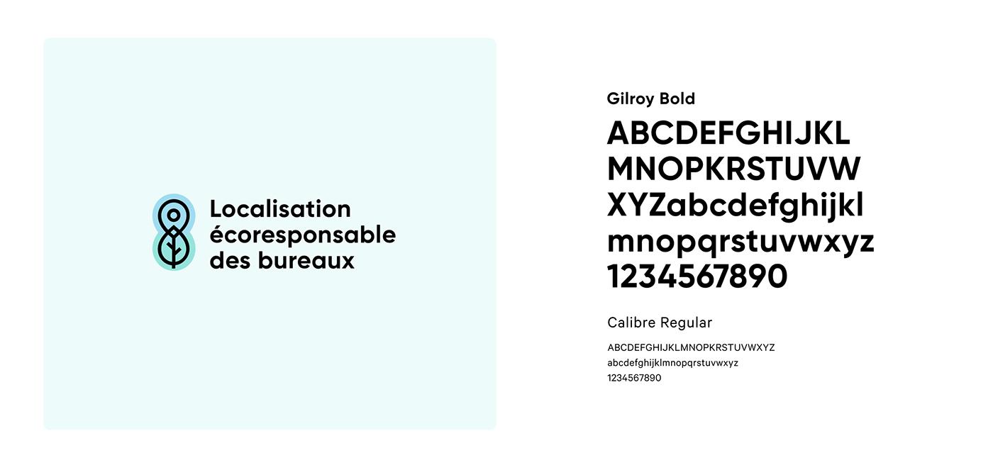 Typographie et logotype écoreponsable. Typography and logotype eco-reponsable foot print.