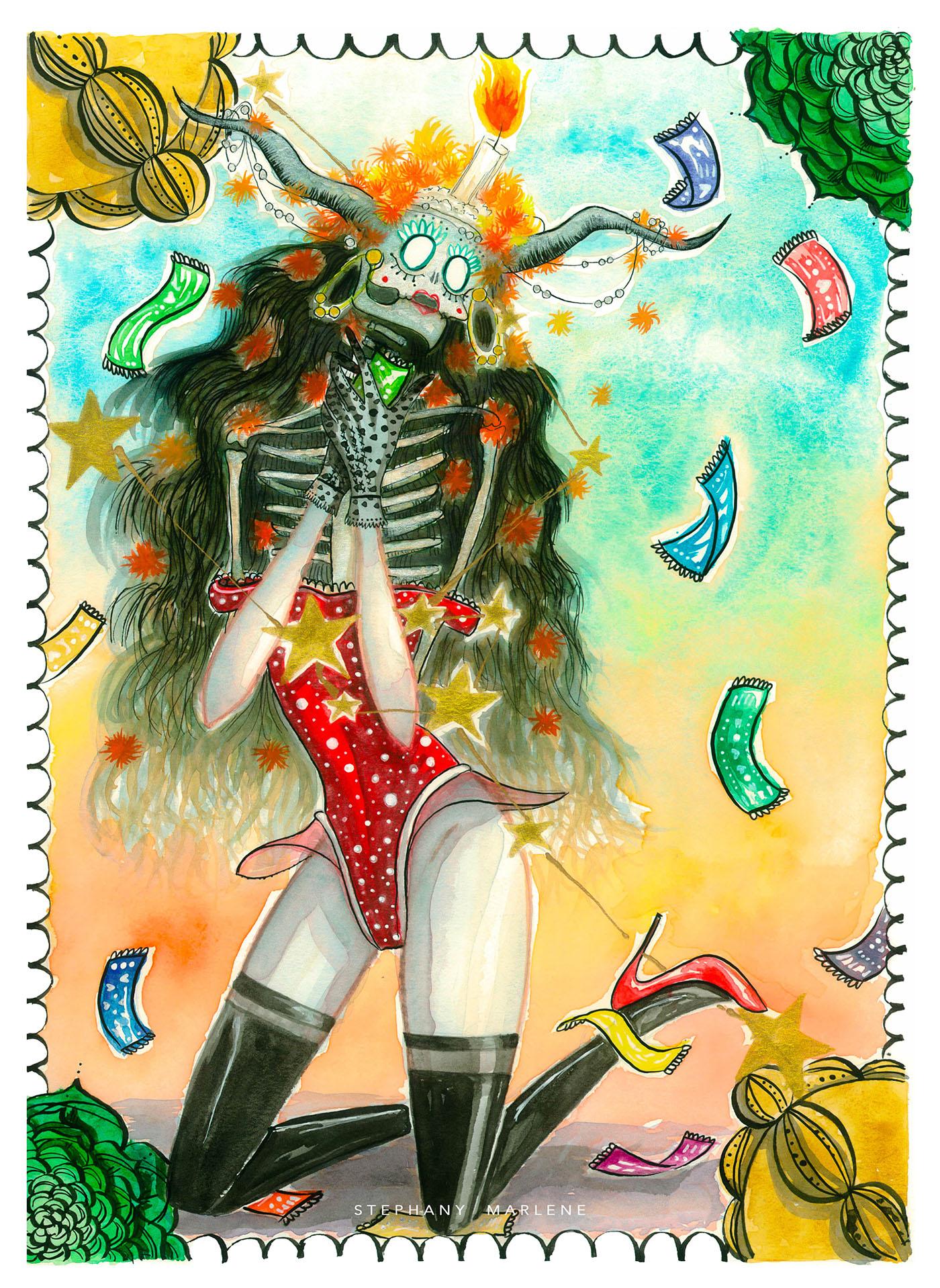 miss catrina zodiac taurus watercolor tijuana mexico stephanymarlen3 death catrinas