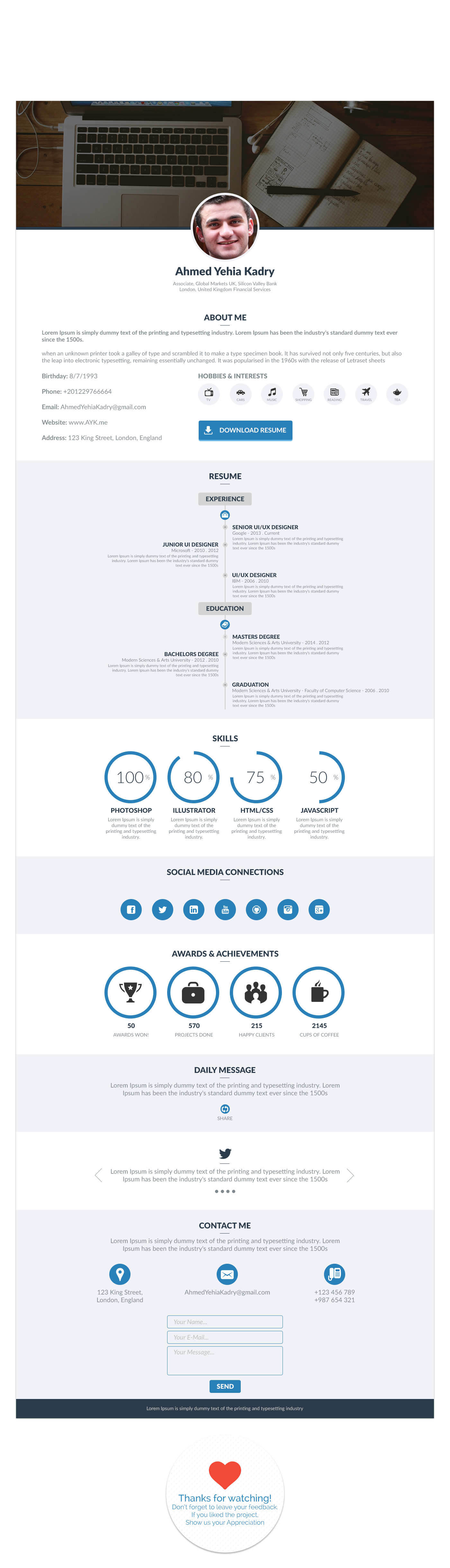 free Resume psd template flat modern skills CV clean One page