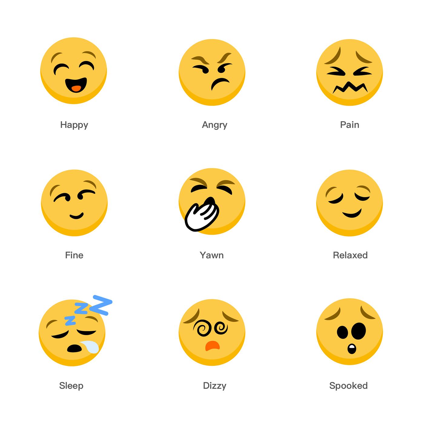Emoticon Emoji emotions faces Illustrator cartoon mood