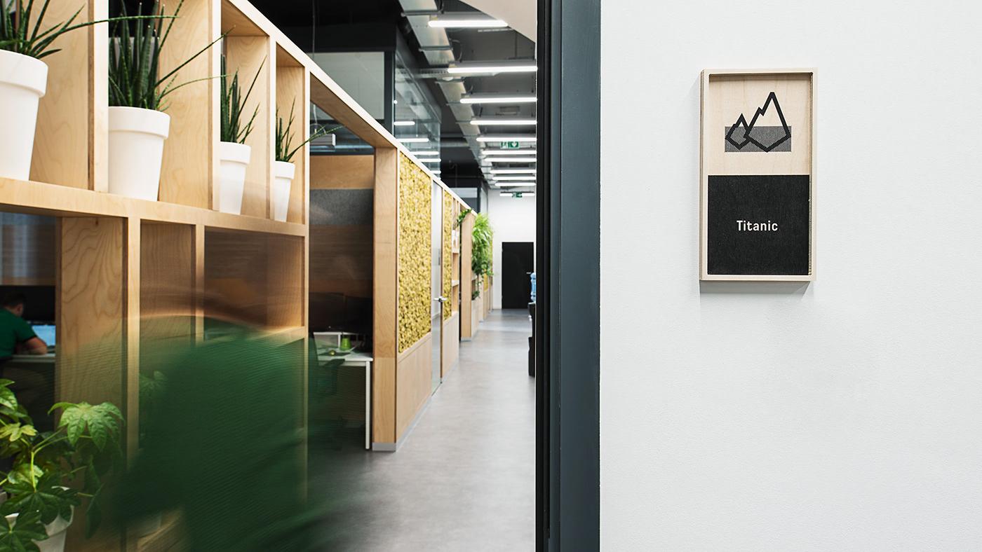 wayfinding Signage wayshowing occupancy Office Design signs icons pictograms plywood Signaletik