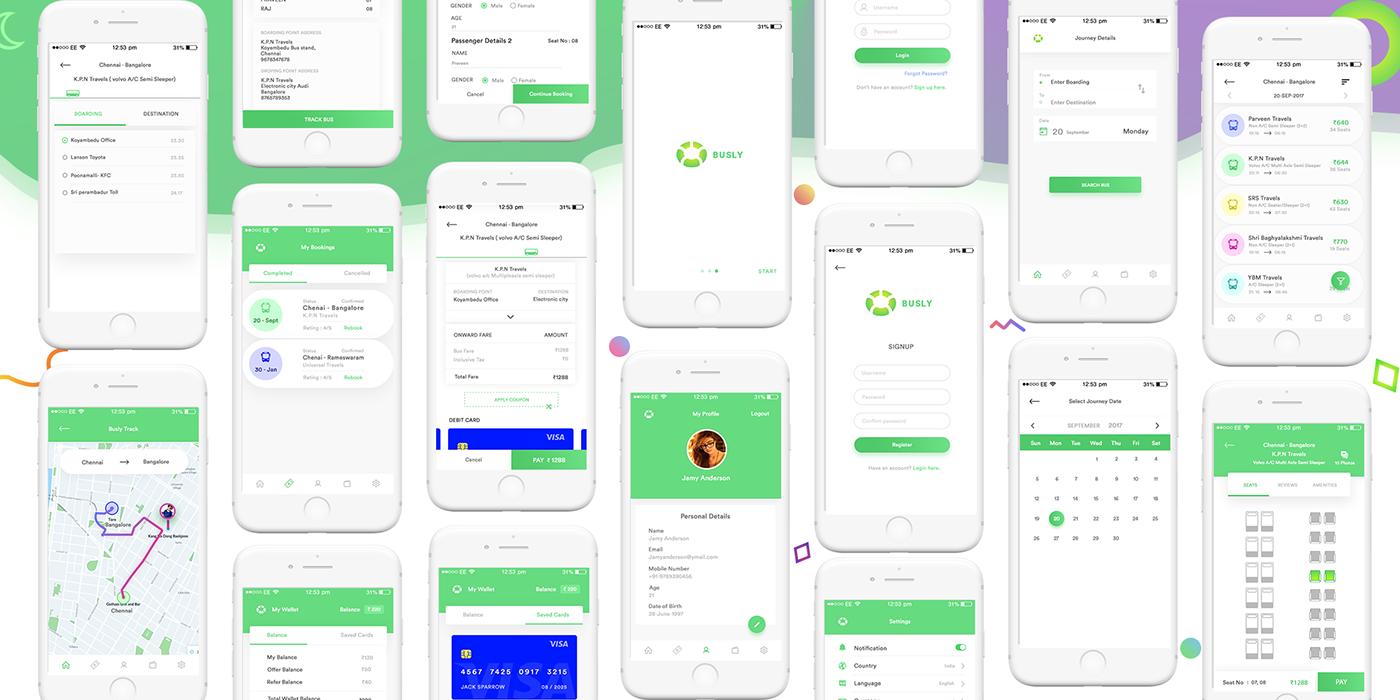 Bus Booking App UI Kit PSD | Pinspiry