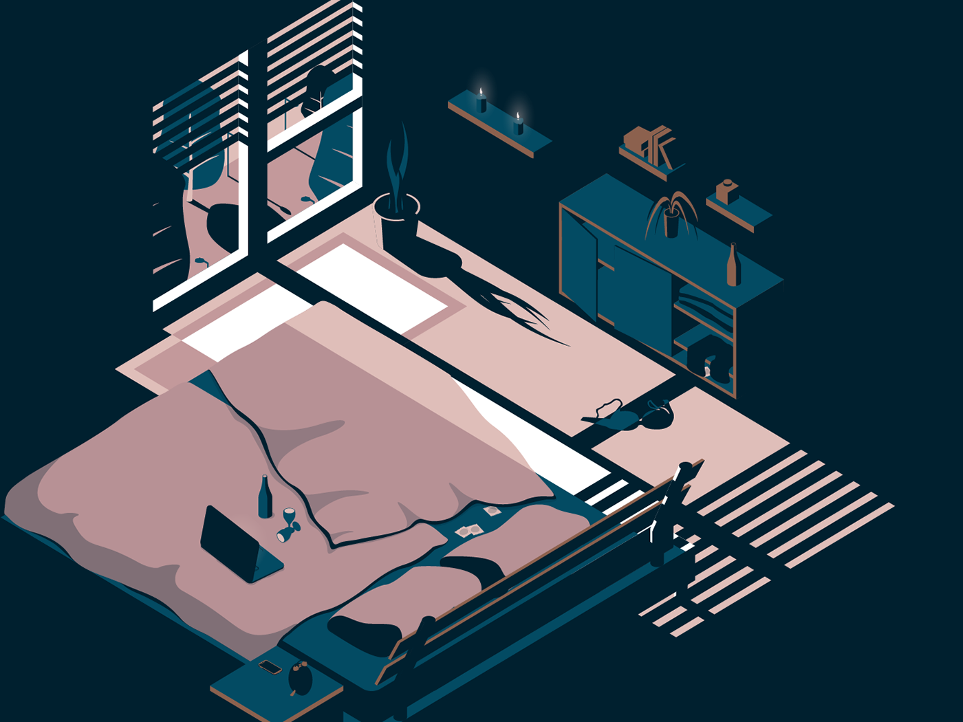 Bedroom with clothes on the floor and laptop on bed