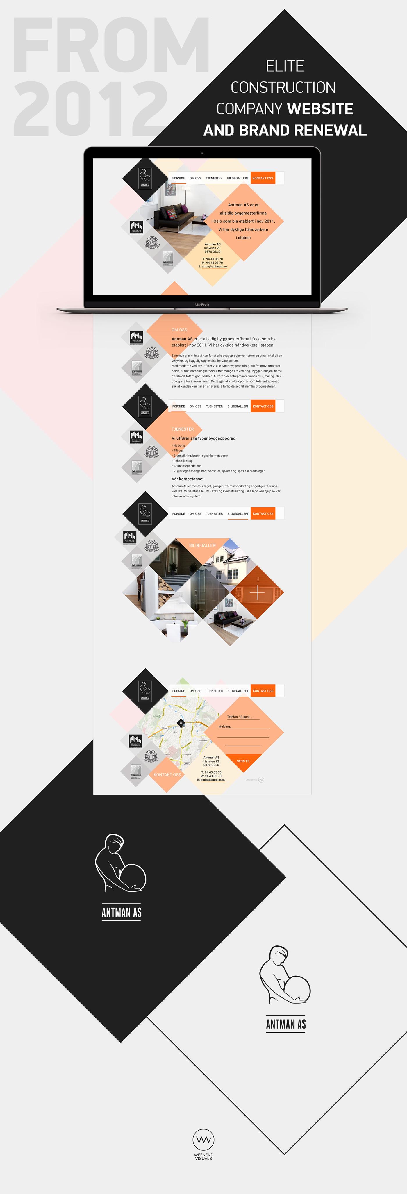 parallax Website UI logo brand man stone construction squares grid