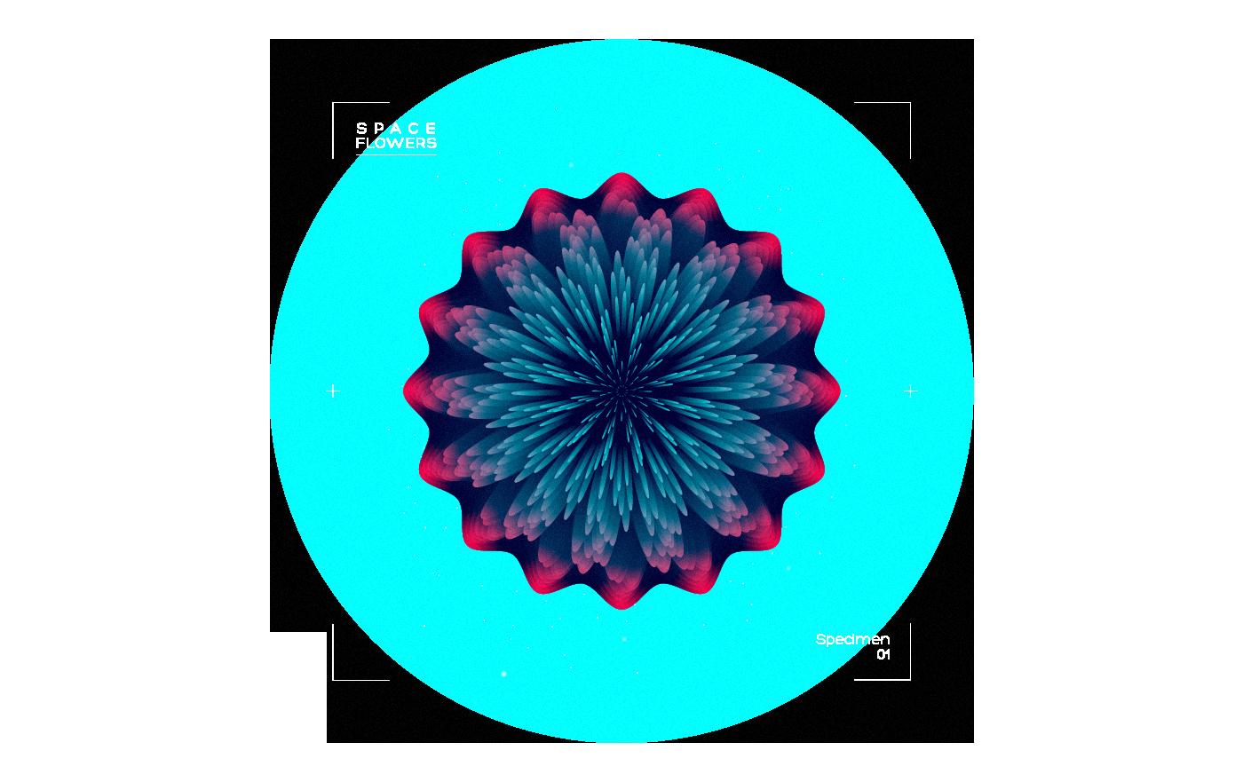 Space  Flowers vector blend neon color lettering