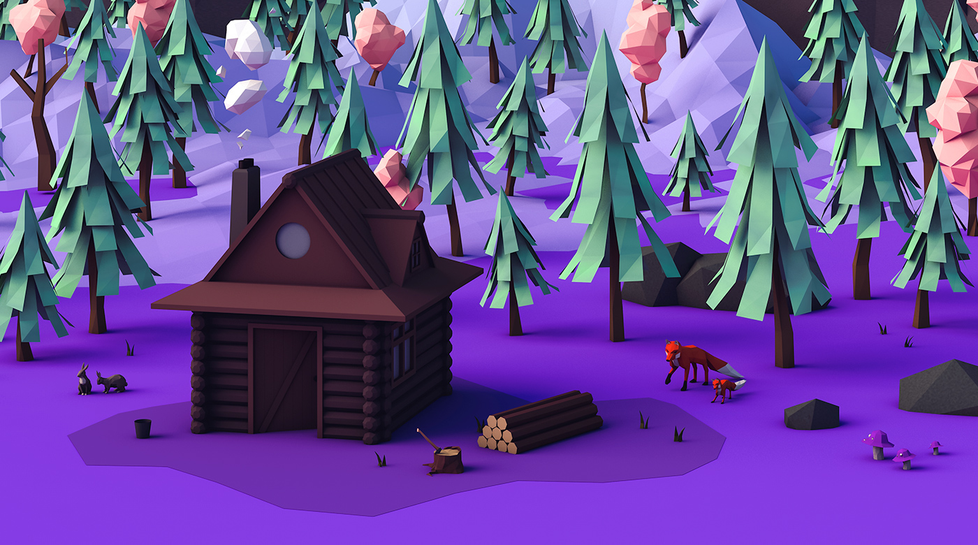 Low Poly forest festival summer ball Event trees c4d branding  design