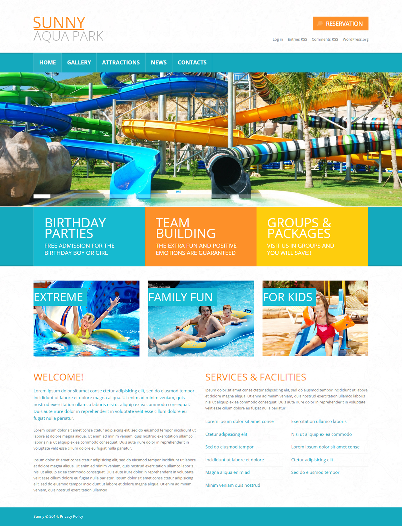 Water park wordpress theme on behance maxwellsz
