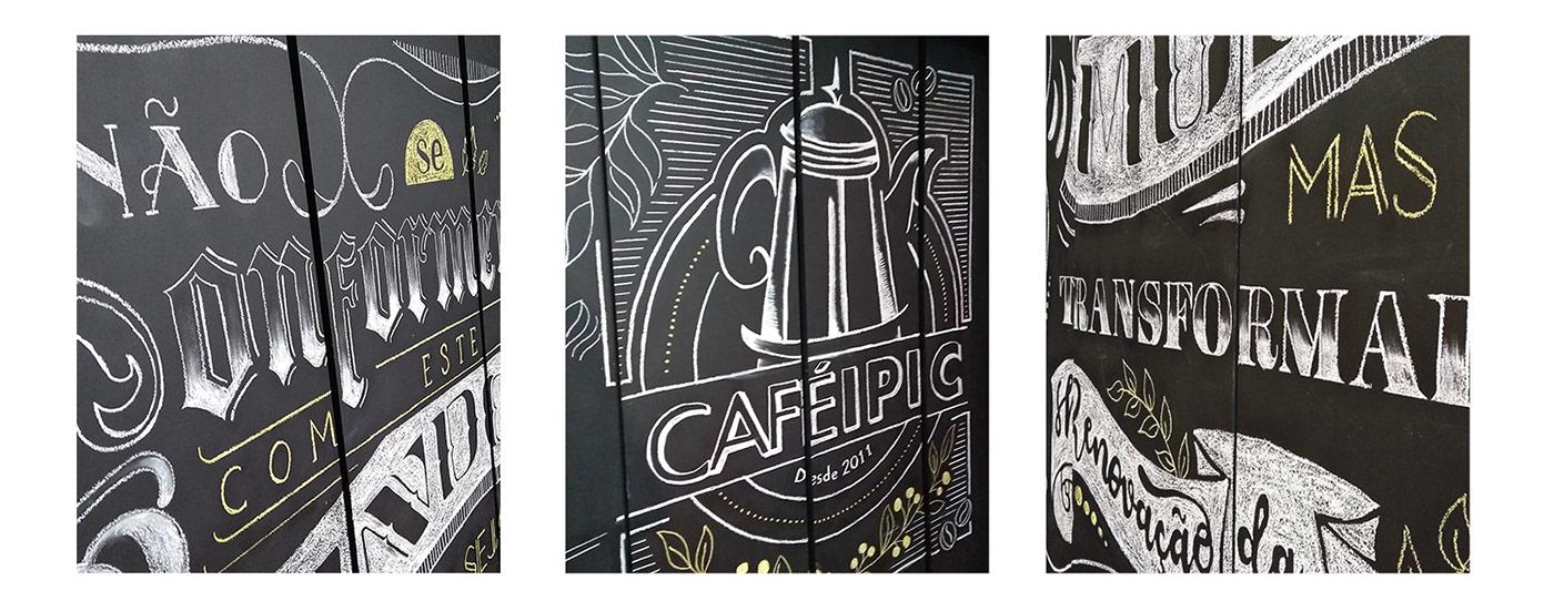 Chalkboard tipography type GIZ lousa lettering tipografia coffe
