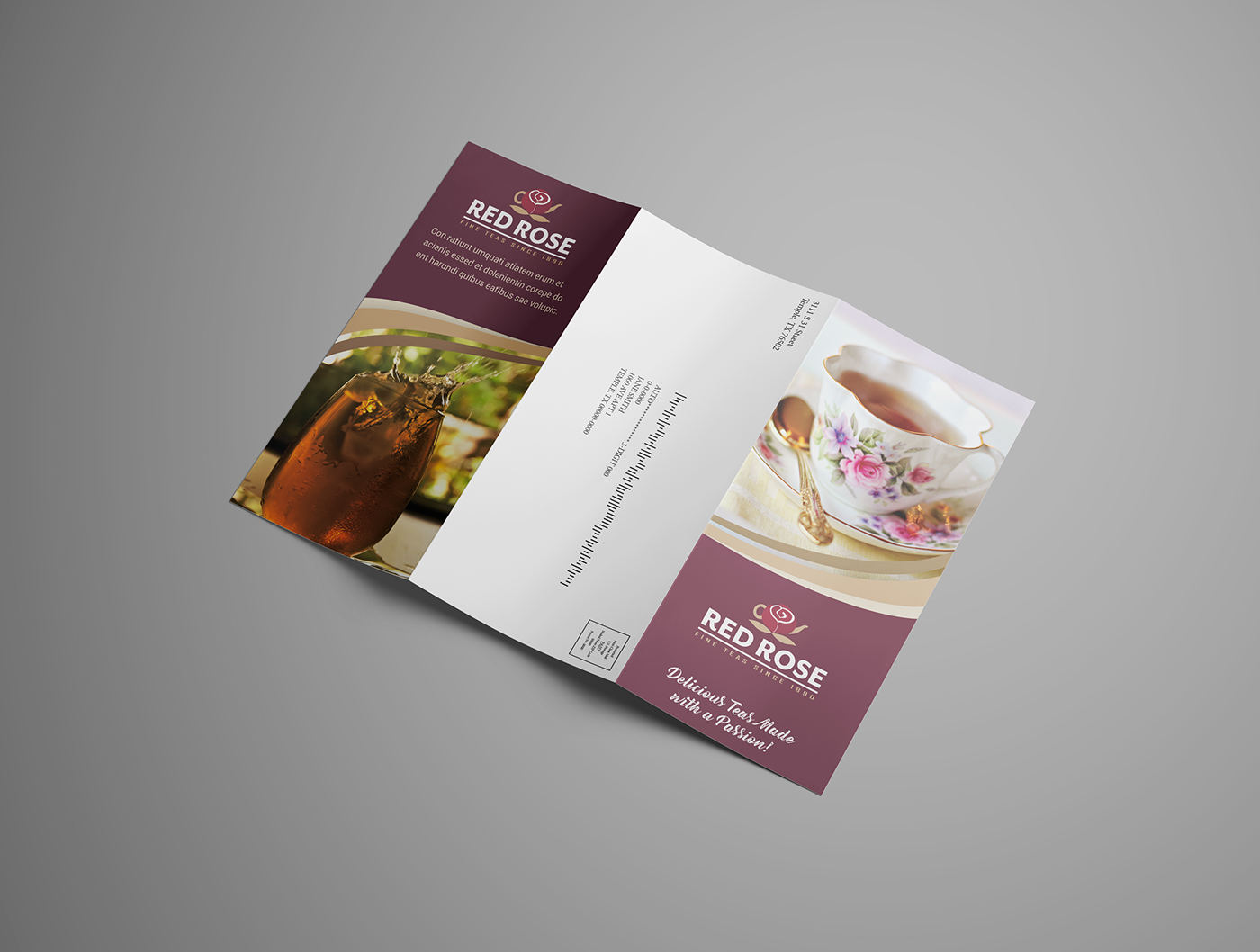 red rose tea self mailer brochure on behance