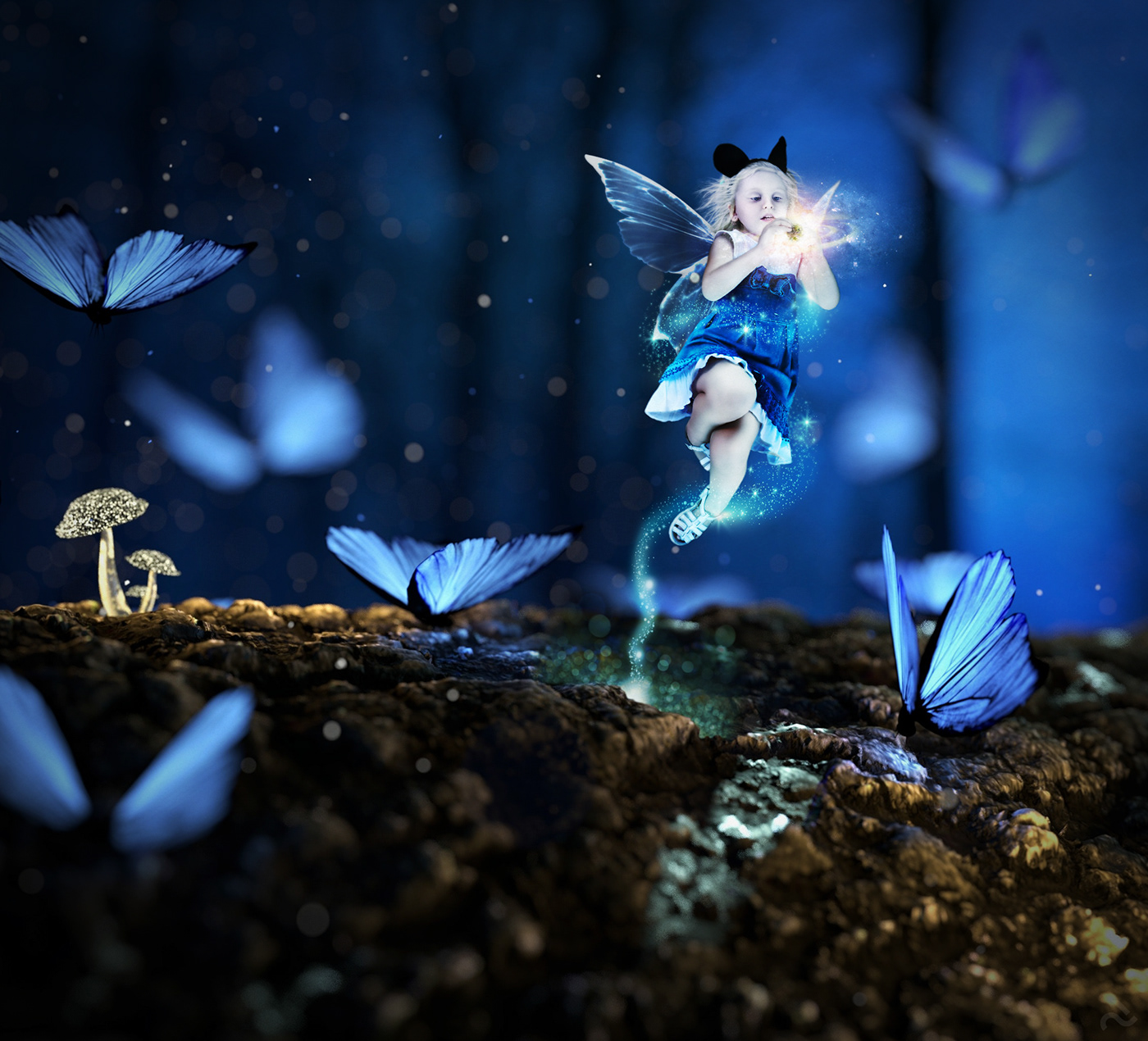 photoshop Photo Manipulation  retouching  Magic   eerie forest fantasy faery butterfly creation