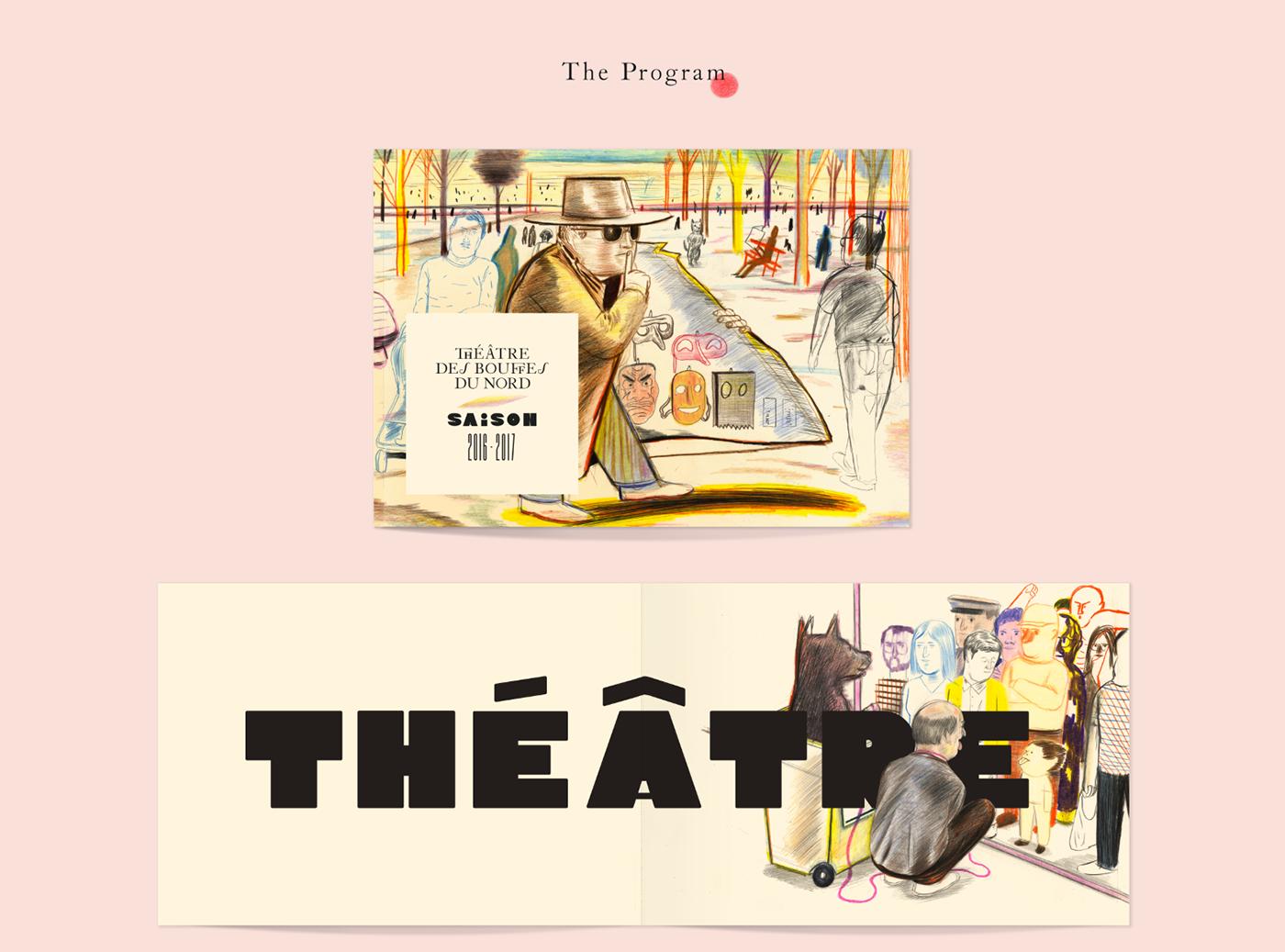 Violaine&jeremy ILLUSTRATION  yann kebbi typography   type typedesign font bouffes Bouffes du Nord Theatre