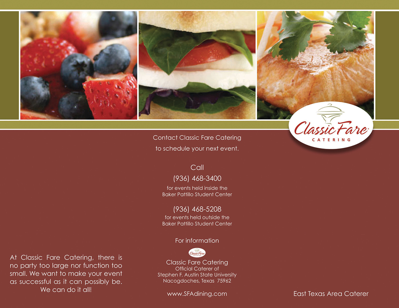 Classic fare catering brochure on behance for T shirt printing in lufkin tx