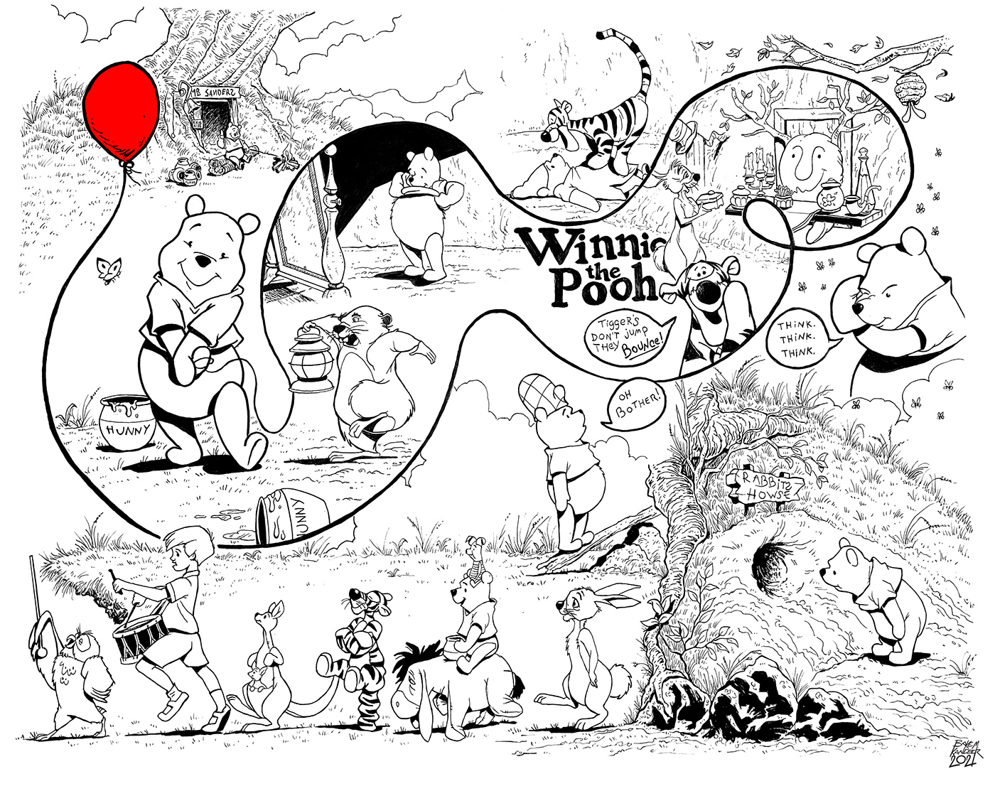 classic disney coloring page disney ILLUSTRATION  print winnie the pooh