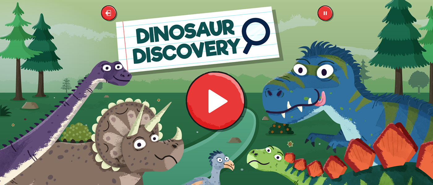 Title image for game called 'Dinosaur Discovery'. There are several dinosaurs on the image.