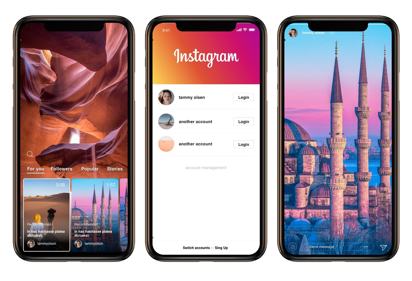 instagram Mockup uiux mobile app template ios android photo social